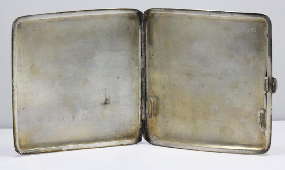 Silver Cigarette Case with Chinese engravings & inscribed