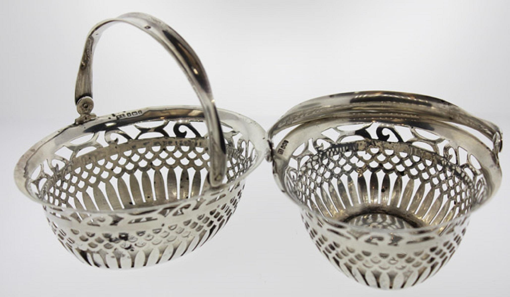 Matching Antique Sterling (0.925) Silver Baskets