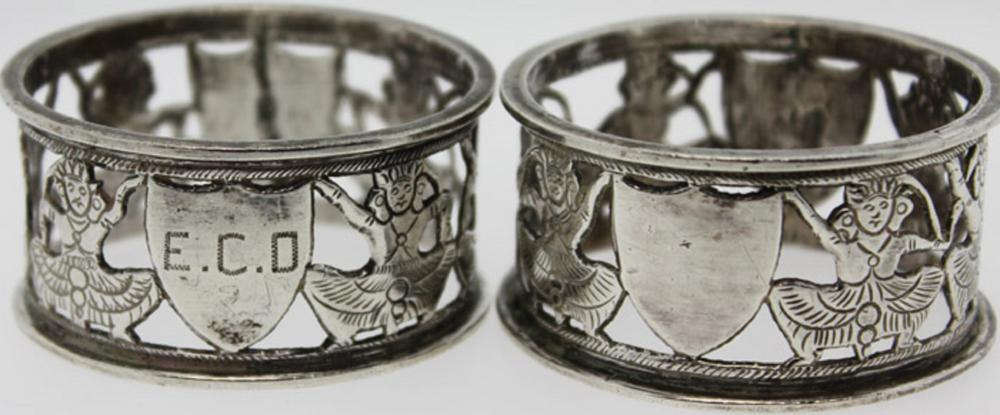 Pair of Silver (Test 0.600) Serviette Rings with Asian design