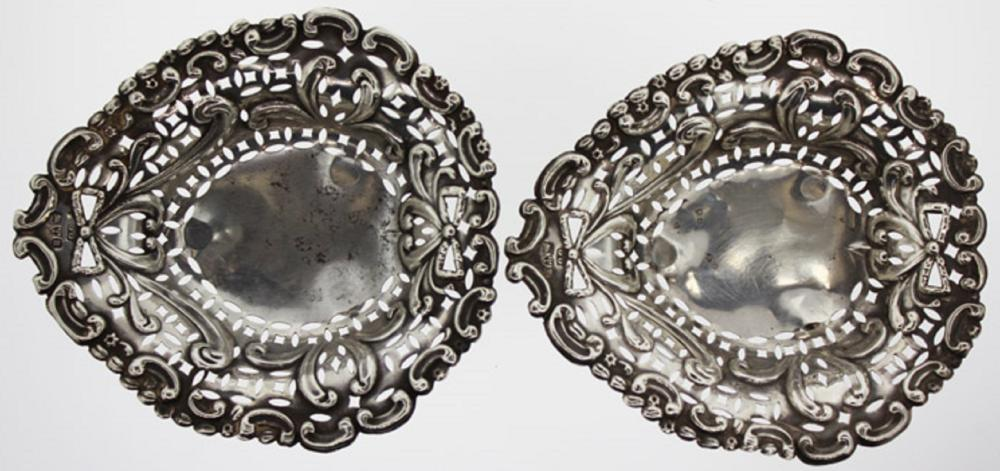 Pair of Small Antique Sterling (0.925) Silver Dishes of ornate design