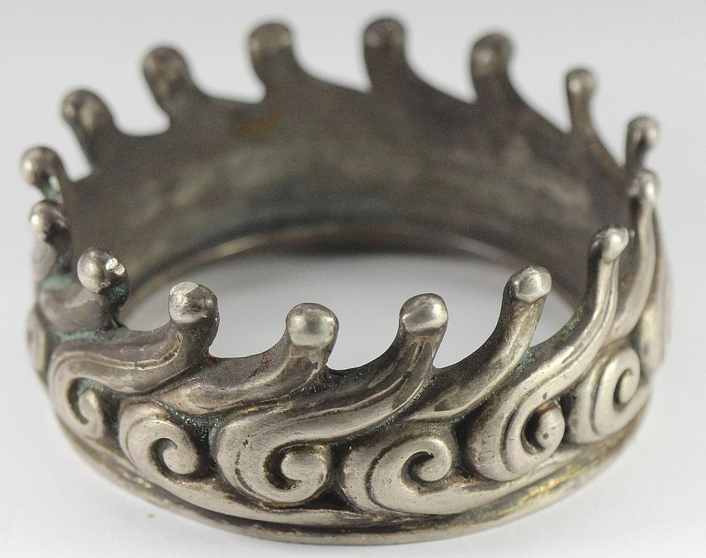 Heavy Antique Sterling (0.925) Silver Lip for Glass Vessel