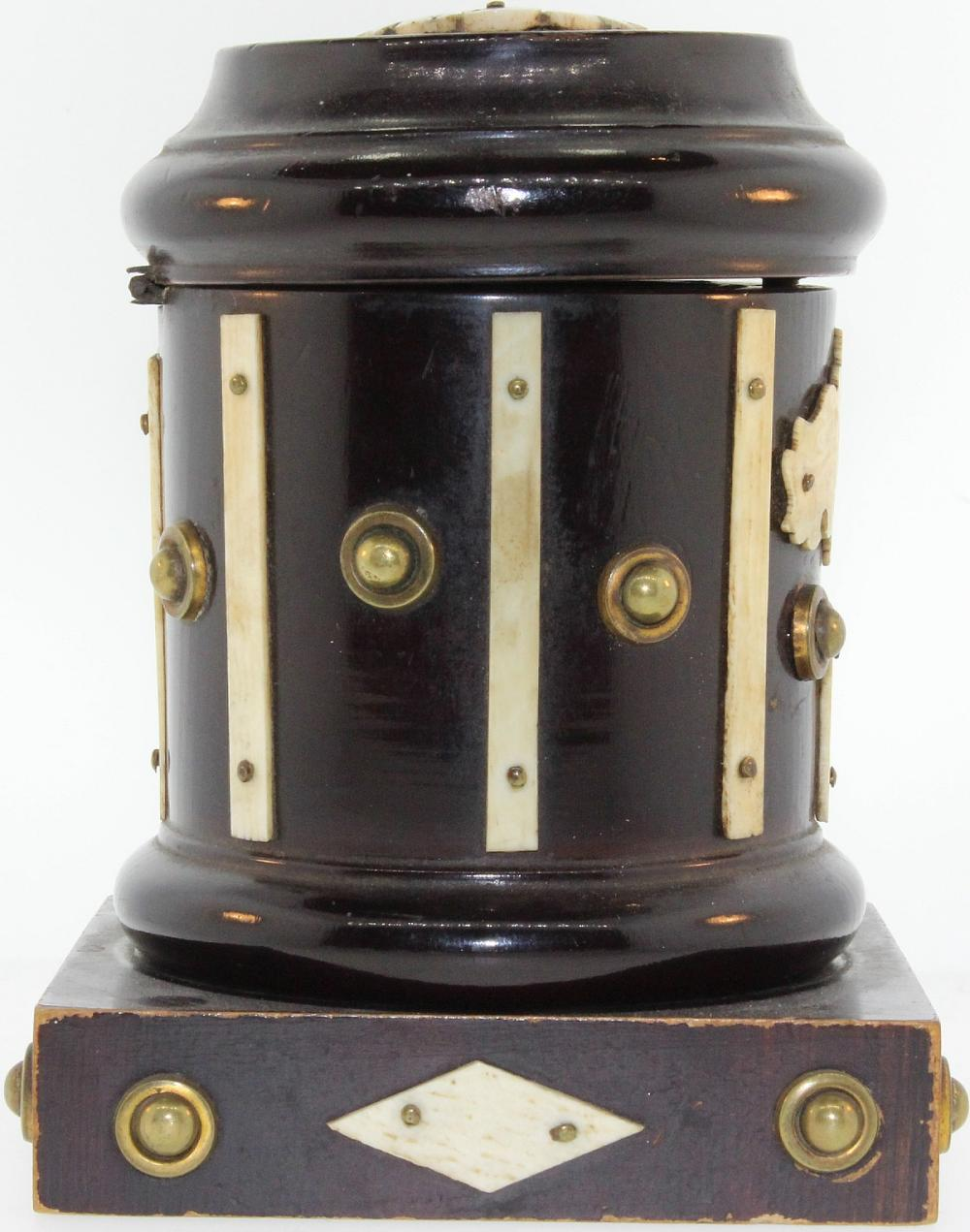 Antique Money Box in Ebonised wood with Ivory adornments