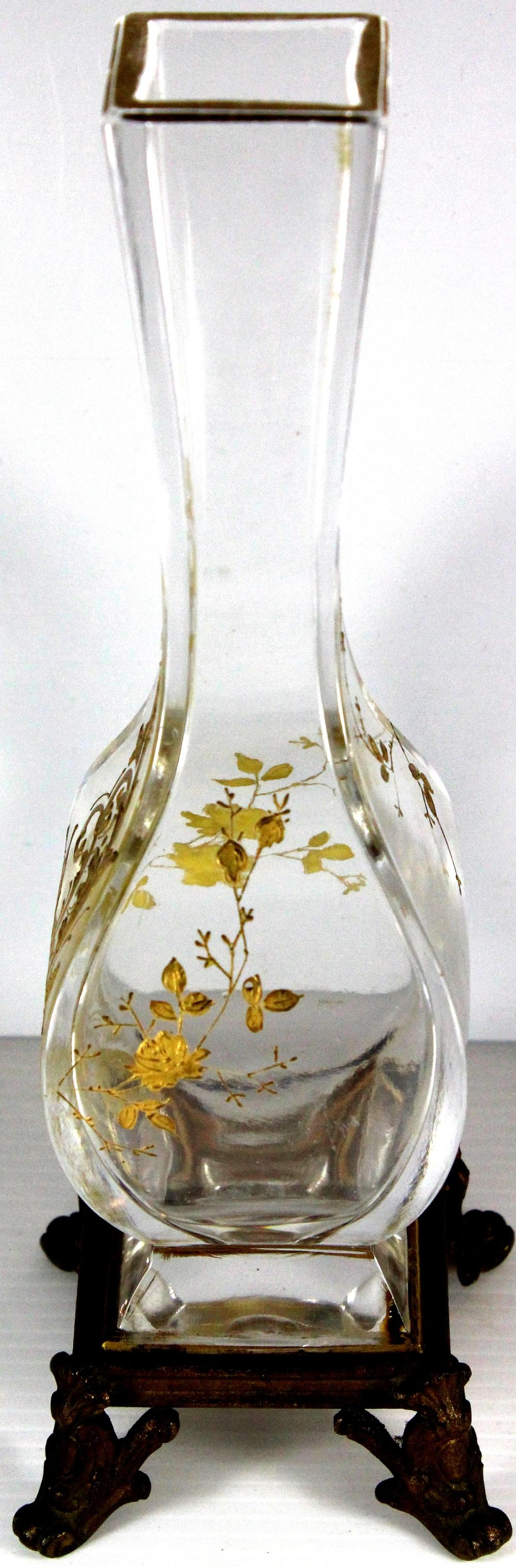Elegant Antique Glass Vase on a Gold-painted stand