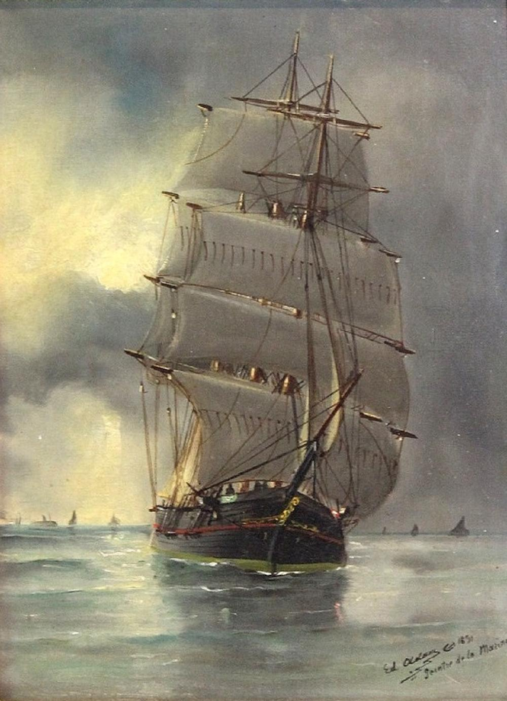 Marie-Edouard Adam of Le Havre (French, 1847-1929). Oil on Canvas of a of a three-masted Barque, dated 1891