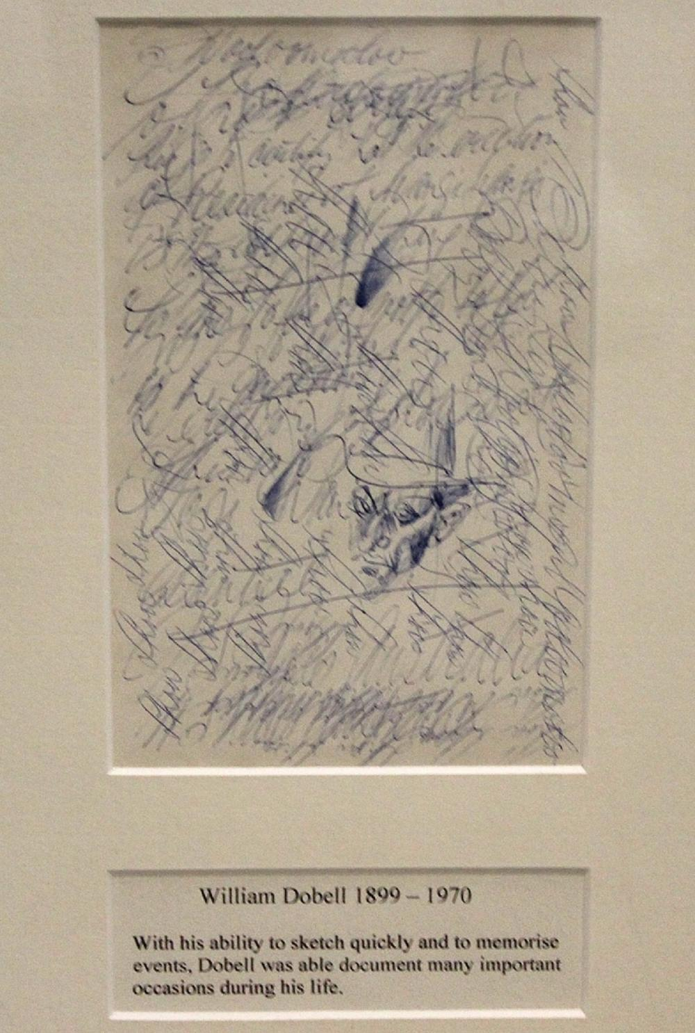 William Dobell (Australian, 1890-1970). Pen on Paper Sketch titled 'Off the Buy a Victory Bond'