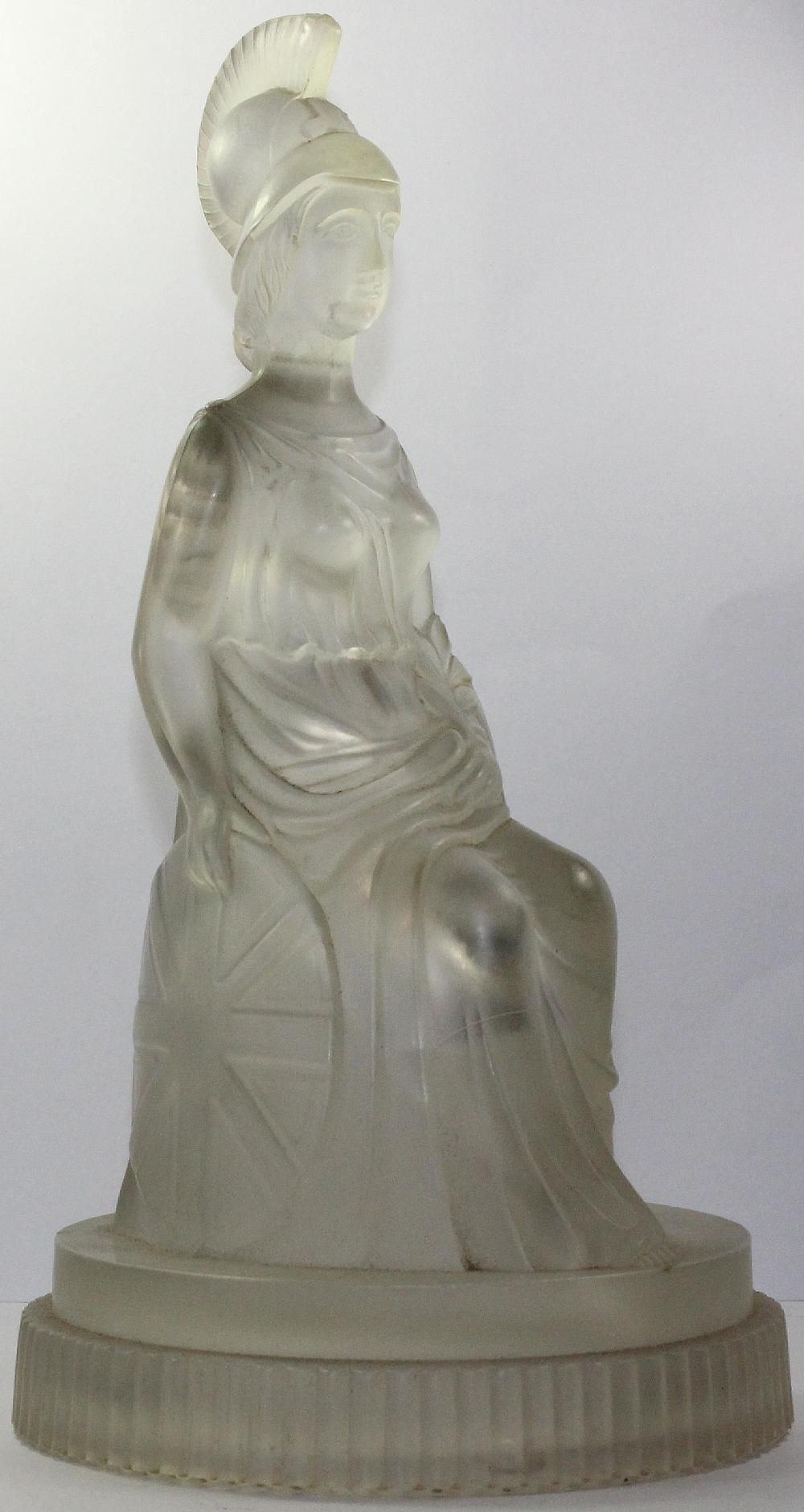 Victorian Pressed Glass Paperweight of Britannia seated