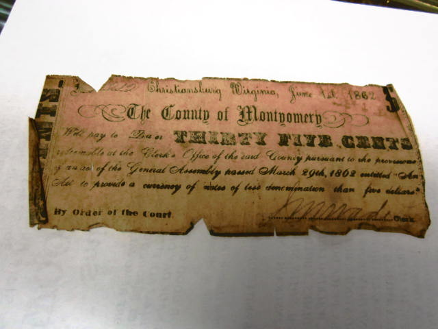1862 35 CENT NOTE MONTGOMERY CO NC