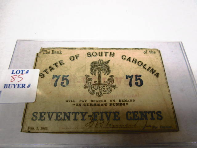 1863 75 CENT SOUTH CAROLINA FRACTIONAL NOTE