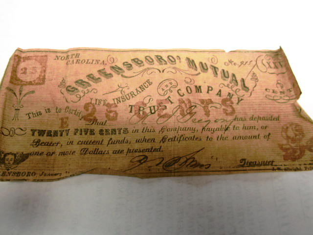 1861 GREENSBORO MUTUAL INS 25 CENT FRACTIONAL NOTE