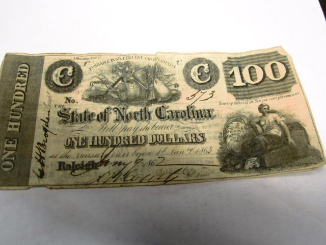 1862 100 C NOTE ENDORSED BY CH BROGDEN