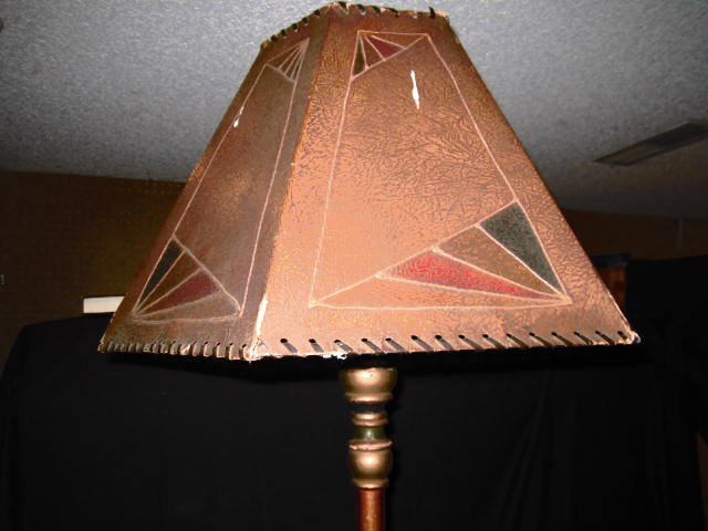 ART NOUVEAU FLOOR LAMP WITH DECORATIVE BASE AND SHADE