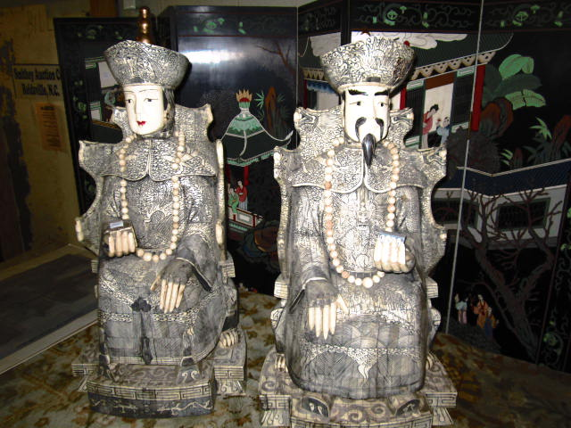 PAIR OF CARVED BONE AND IVORY EMPEROR AND EMPERORESS 31 INCHES TALL