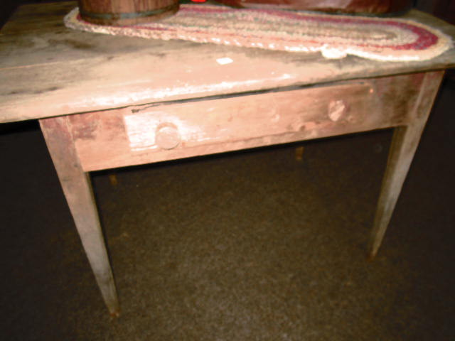 PRIMITIVE PINE TWO BOARD TOP PEGGED FARM TABLE WITH RED PAINT FROM SWANSONVILLE VA CIRCA 1870