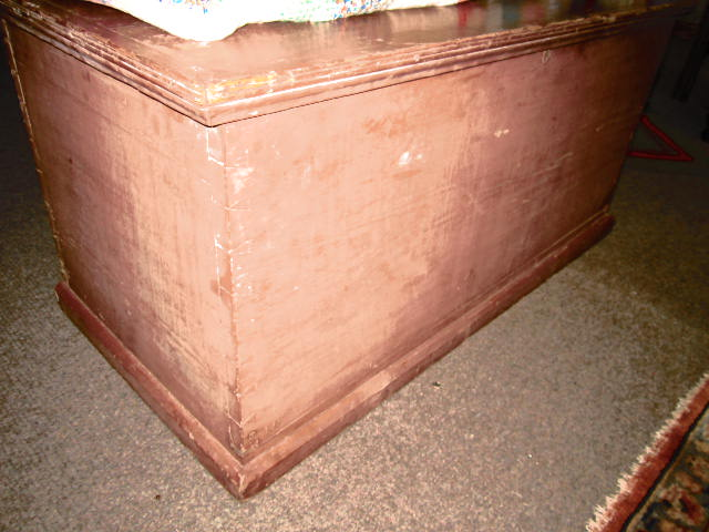 YELLOW PINE DOVE TAILED BLANKET CHEST WITH RED PAINT