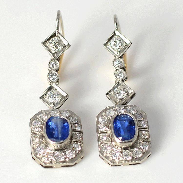 Platinum Art Deco 1.84 CTW Sapphire Earrings with Diamonds