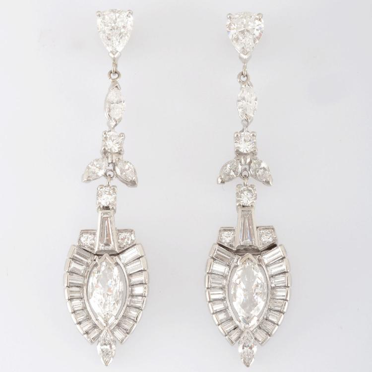 6.40 CTW Diamond Platinum Earrings