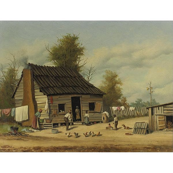 William Aiken Walker 1839-1921 , The cotton pickers' cabin oil on board