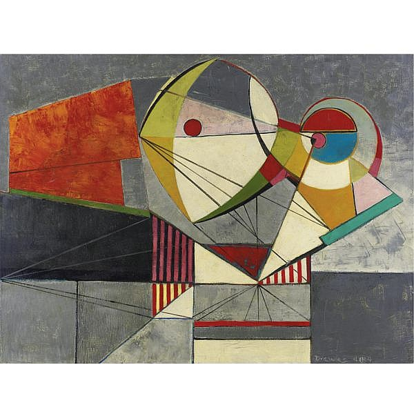 Werner Drewes 1899-1965 , Abstract composition oil on canvas
