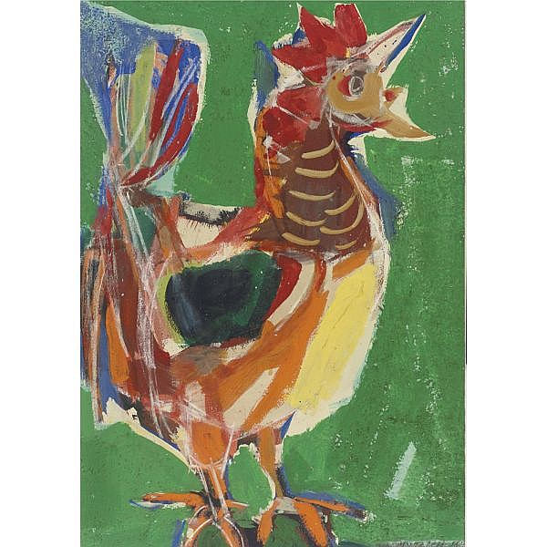 Vaclav Vytlacil 1892-1984 , Rooster acrylic and gouache on board