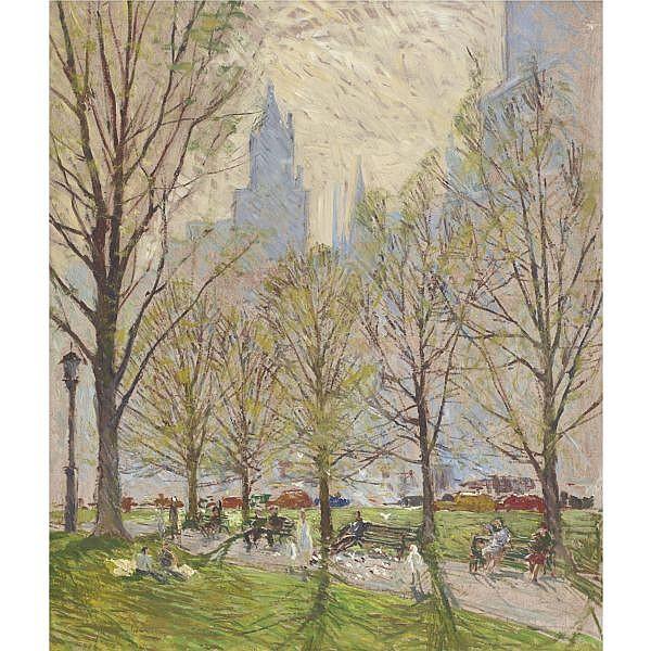 Roger Dennis 1902 - 1996 , Spring in the Park, New York oil on masonite