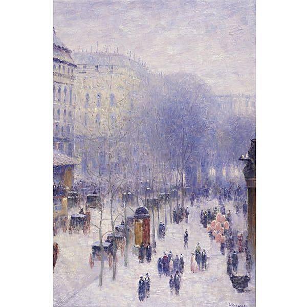 Gail Sherman Corbett 1871-1952 , A Boulevard in Paris oil on canvas