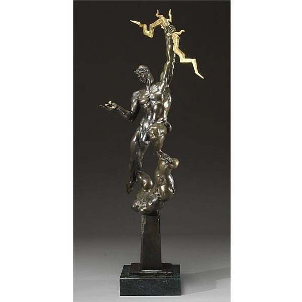 Donald De Lue 1897-1988 bronze, greenish brown patina with applied gilt