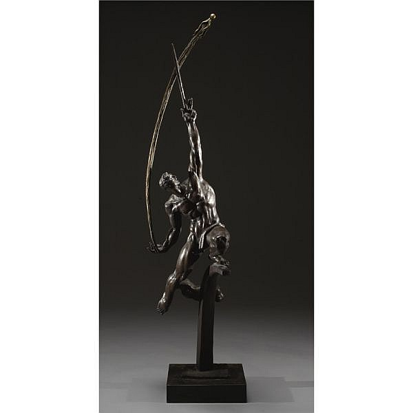 Donald De Lue 1897-1988 , Rocket Thrower bronze with brown patina on a 3 in. marble base
