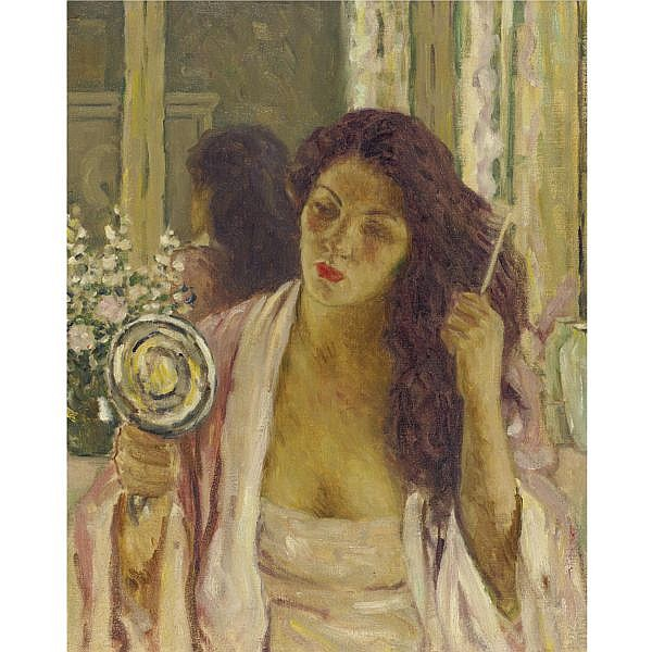 Will Howe Foote 1874-1965 , Girl combing her hair, Old Lyme oil on canvas
