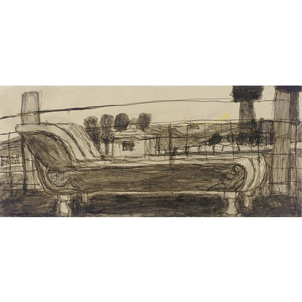 James Castle 1900-1977 , Daybed and Farm Building: A Double-Sided Drawing mixed media on paper