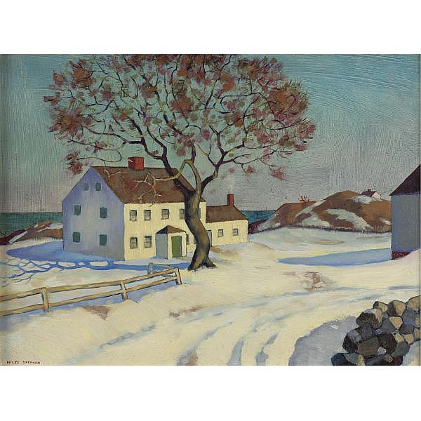 Niles Spencer 1893-1952 , New England House in Winter oil on panel