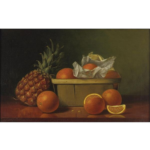 Albert F. King 1854-1945 , Still Life with oranges and pineapple oil on canvas
