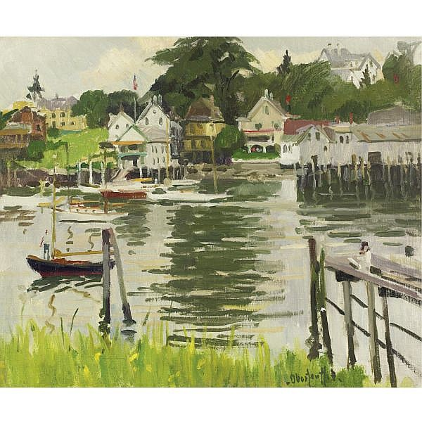 George Oberteuffer 1878-1937 , Boothbay Harbor Yacht Club, Maine oil on canvas