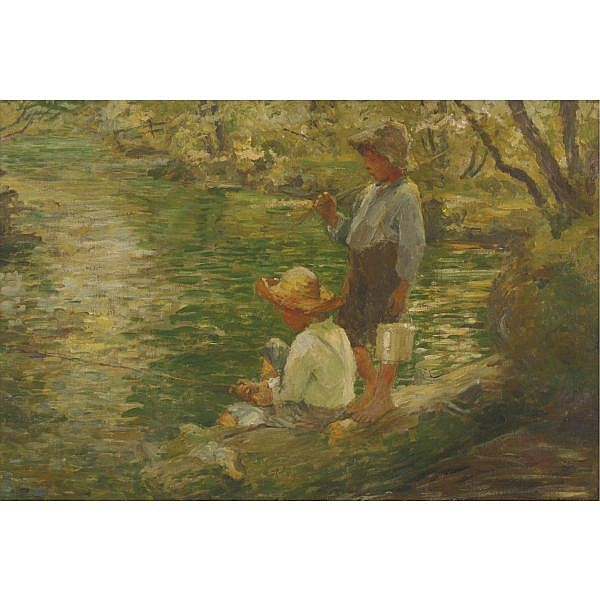 Adam Emory Albright 1862-1957 , The young fishermen oil on canvas