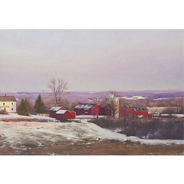 Peter Poskas b. 1939 , Snow Squalls, Parmelee Farm, Prelude to Spring oil on canvas