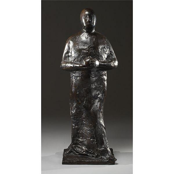 Leonard Baskin 1922-2000 , Man with Pomegranate bronze with dark brown patina