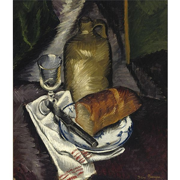 Ben Benn 1884-1983 , Still life with Bread, Pitcher and Glass oil on canvas