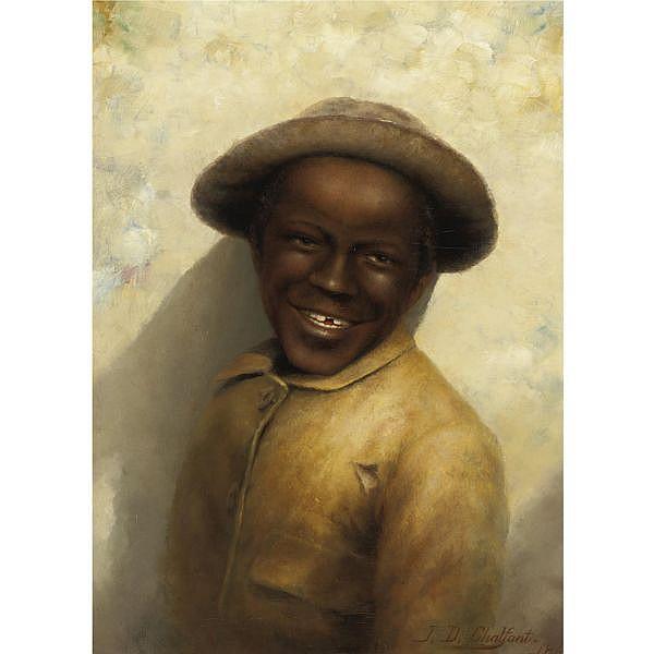 Jefferson David Chalfant 1856-1931 , Smiling Boy oil on canvas