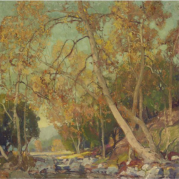 Orrin Augustine White 1883-1969 , Autumn Sycamores oil on canvas