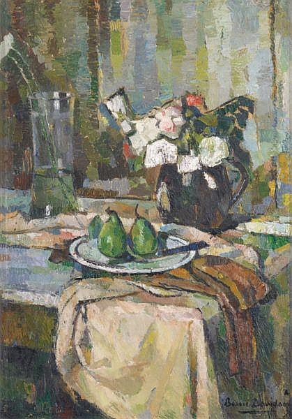 BESSIE DAVIDSON , BESSIE DAVIDSON Australian 1879-1965 STILL LIFE WITH FRUIT AND FLOWERS Oil on board