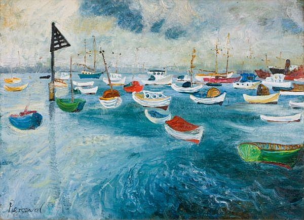 - JOHN PERCEVAL , JOHN PERCEVAL Australian 1923-2000 PLEASURE CRAFT Oil on composition board