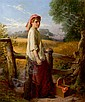 William Henry Midwood , William Henry Midwood British active 1867-1871 THE GLEANER Oil on canvas   , W. H. Midwood, Click for value