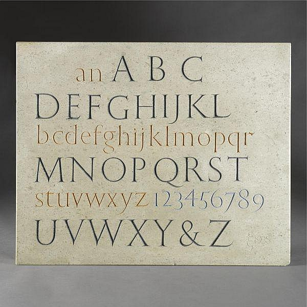 - Eric Gill , 1882-1940 alphabet hoptonwood stone with pigment