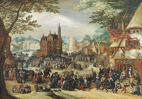 Attribué à David Vinckboons , Malines 1576 - 1629 Amsterdam La kermesse de la Saint-Georges Attributed to David Vinckboons ; The Kermesse of Saint George ; oil on panel Huile sur panneau