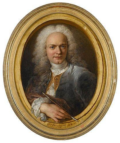 Charles-Antoine Coypel , Paris 1694 - 1752 Autoportrait dans un encadrement peint Charles-Antoine Coypel ; Selfportrait in a painted frame ; oil on canvas, oval ; signed and indistinctly dated in the lower part Huile sur toile, ovale