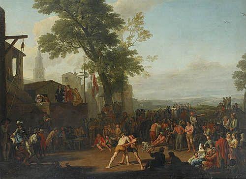 Adrien Manglard , Lyon 1695 - 1760 Rome Scène de lutte sur la place d'un village Adrien Manglard ; Struggle scene on a village square ; oil on canvas Huile sur toile