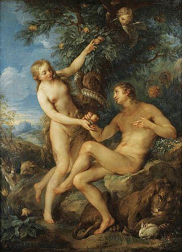 François Le Moyne , Paris 1688 - 1737 Adam et Eve François Le Moyne ; Adam and Eve ; oil on copper Huile sur cuivre