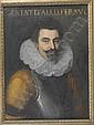 Ecole milanaise vers 1600 , Portrait de Cesare d'Este en buste (1561-1628) Milanese school circa 1600 ; Portrait of Cesare d'Este (1561-1628) ; oil on canvas ; inscribed in the upper part Huile sur toile