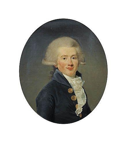 Joseph Boze , Martigues 1745 - 1826 Paris Portrait de Jean-Conrad Hottinguer (1764-1841) Joseph Boze ; Portrait of Jean-Conrad Hottinguer (1764-1741) ; oil on canvas, oval Huile sur toile, ovale