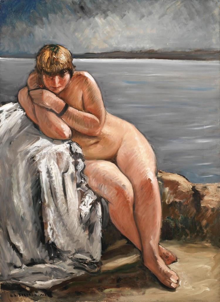 GEORGES HANNA SABBAGH | Nude Seated in a Breton Landscape (Nu Assis dans un Paysage Breton)
