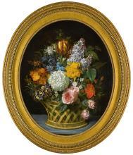MARIE-VICTOIRE LEMOINE | Still life of spring flowers in a basket